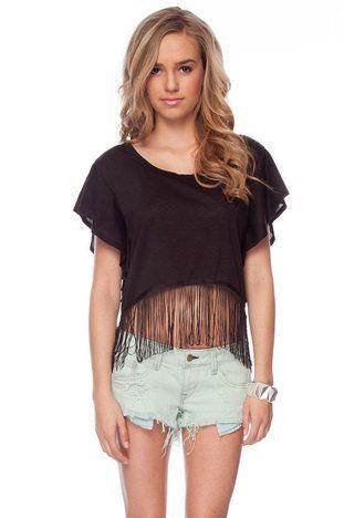 Cropped Fringe T-Shirt