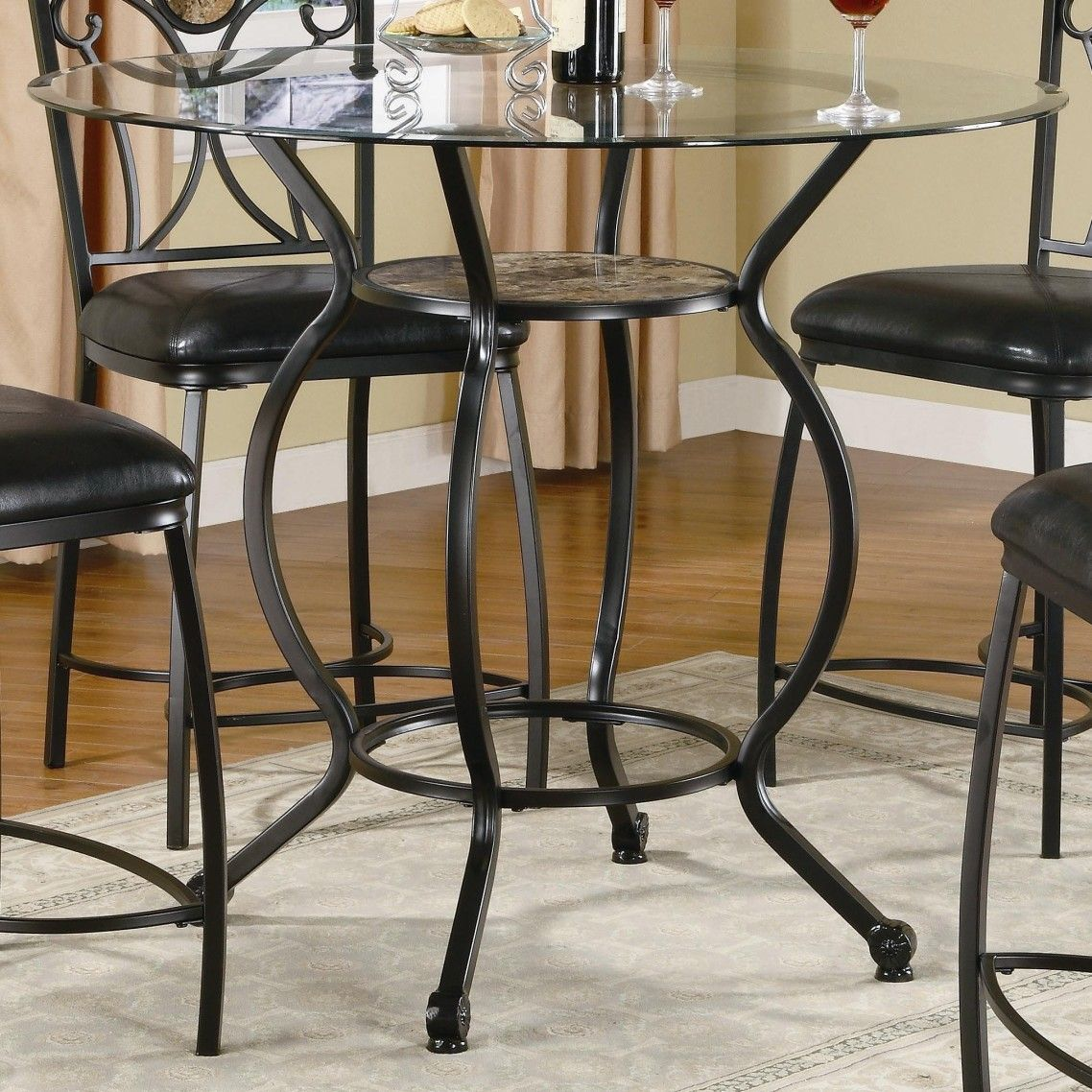 awesome round glass dining table with black wrought iron base