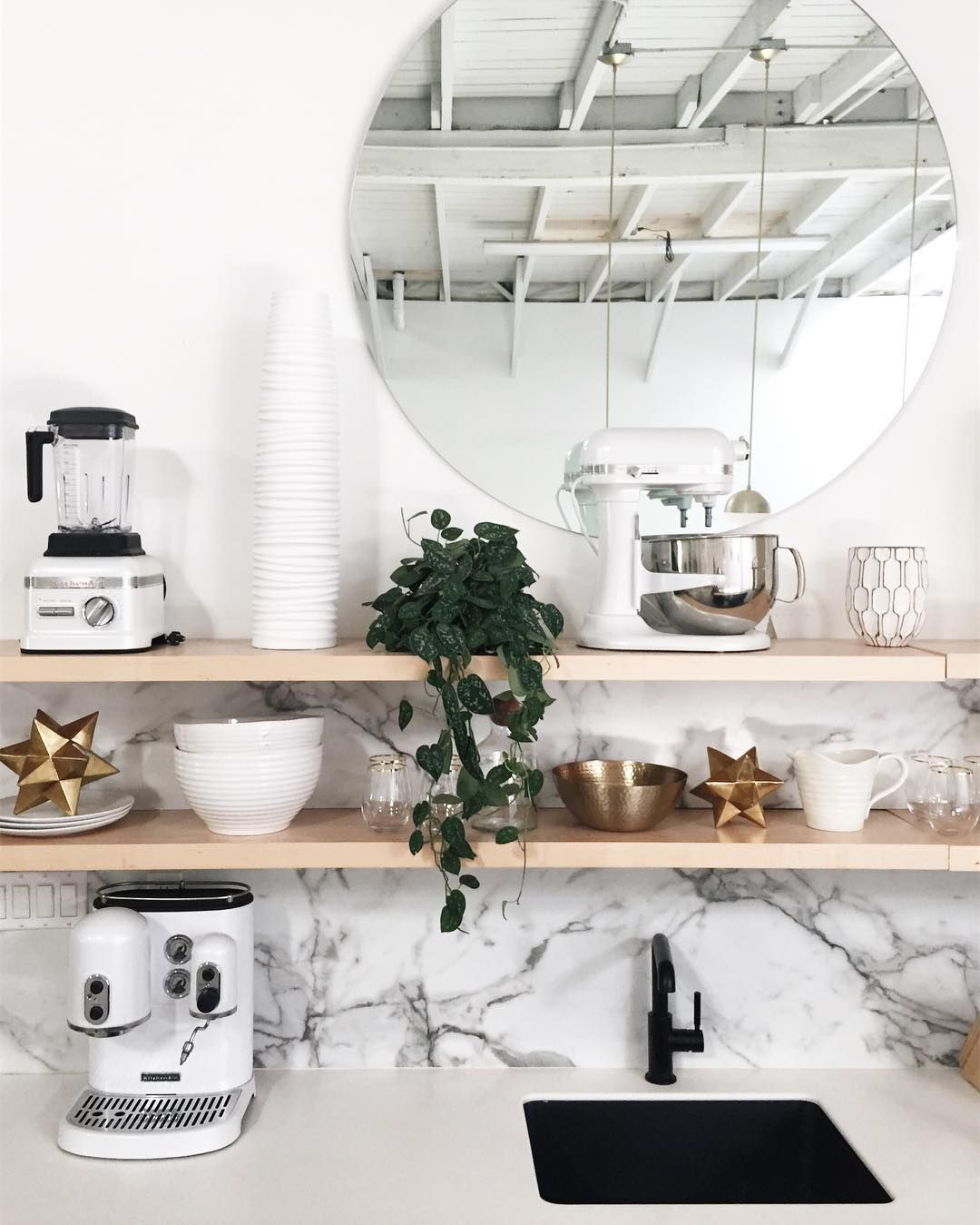 Kitchen with open shelving and marble backsplash home pinterest