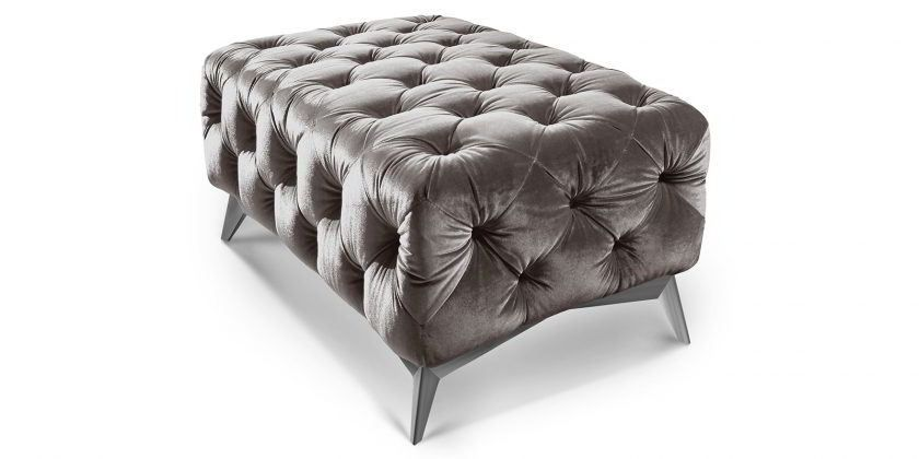 Chesterfield Hocker Grau Samt 100x60 Cm Emma Sitzhocker Silber Barock Hocker Chesterfield Mobel Chesterfield