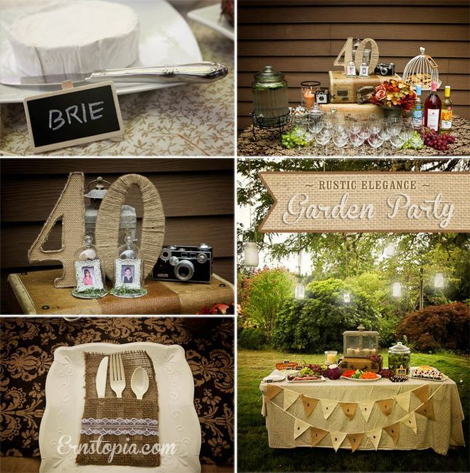 Burlap and Lace decor for our Rustic Elegance Garden Party