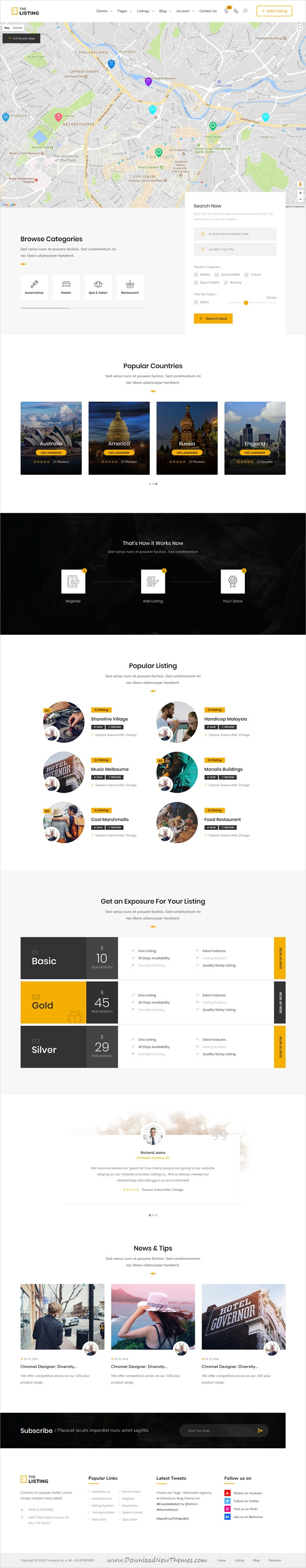 theListing - Listing Directory HTML Template with Bootstrap 4   List ...