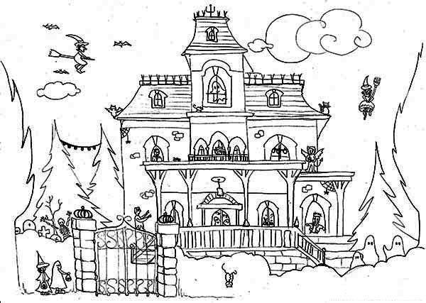 Haunted House and Satanic Cat Coloring Page | Halloween Haunts ...
