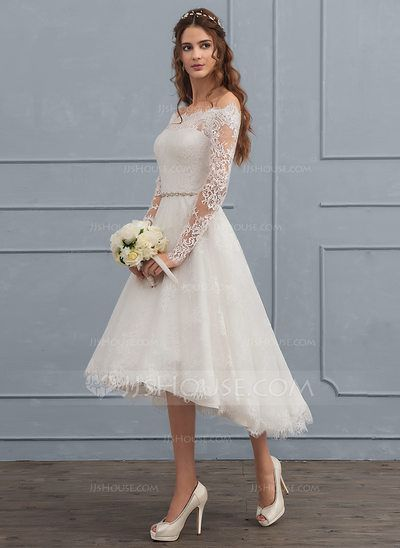 US 17419 A Line Princess Off The Shoulder Asymmetrical Lace Wedding Dress With Beading 002117112