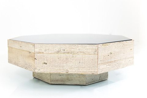 Recycled Wood Grey Glass Octagon Coffee Table Grey Glass Coffee Table Recycled Wood