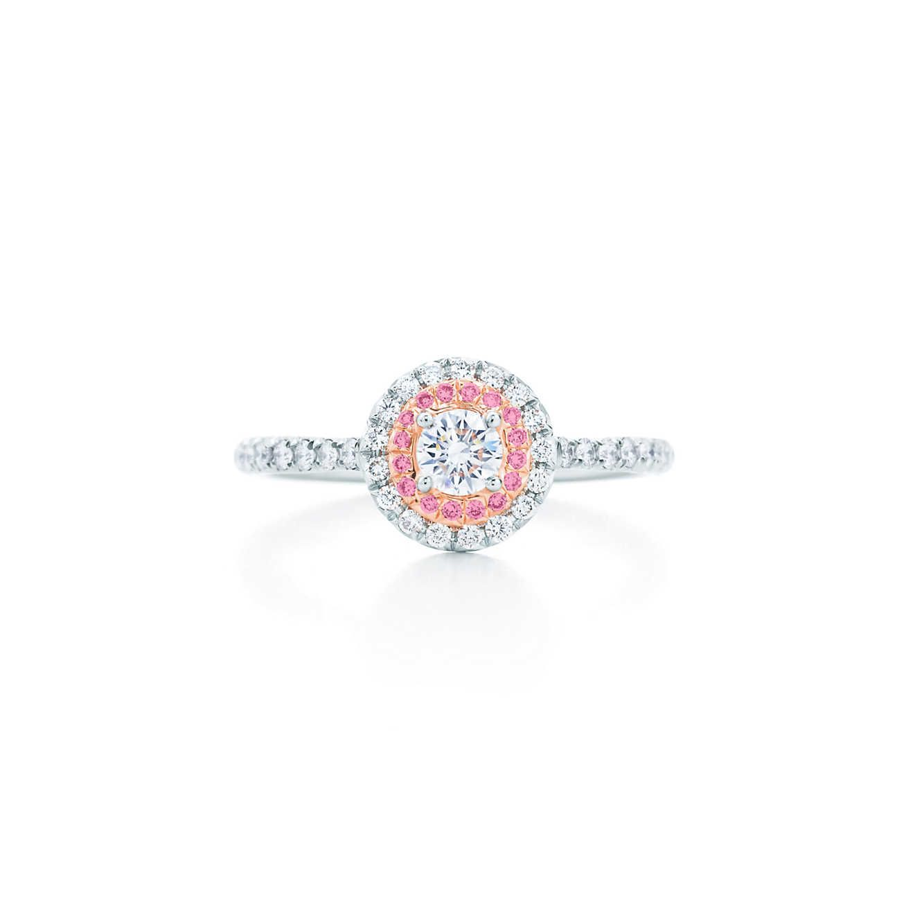 bb3eee2b4 Tiffany Soleste® ring in platinum and rose gold with Fancy Vivid Pink  diamonds.