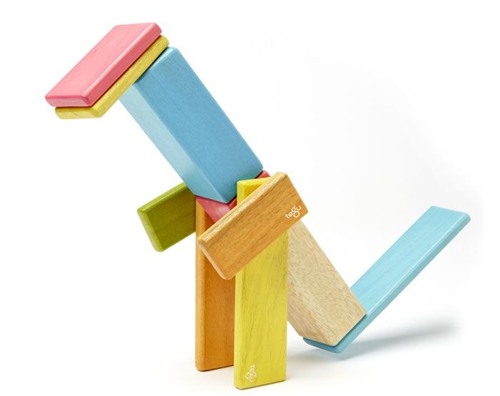 TEGU MAGNETIC WOODEN BLOCKS SET -  Made from sustainably sourced, FSC-certified Honduran hardwoods, this 52-piece magnetic block set will inspire open-ended play for hours. Coated with a colorful non-toxic, water-based lacquer finish, this heirloom-quality toy will last generations.    from Amazon