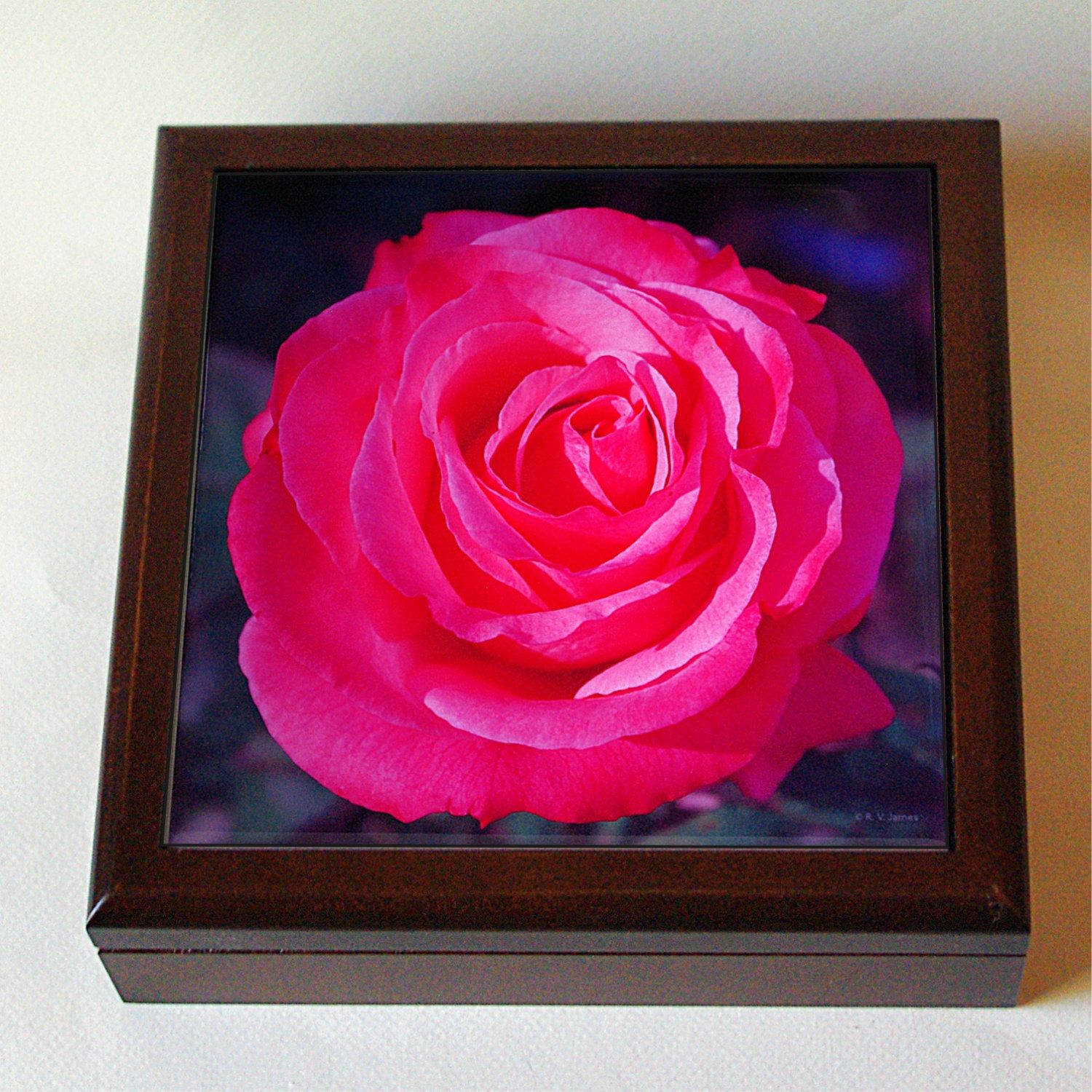 Wood keepsake box with rose ceramic tile, Cherish rose, pink, coral, jewelry box, mother's day ...