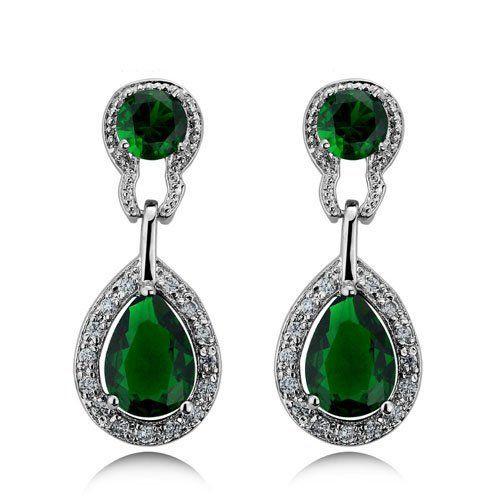 Vintage Design Long Luxury Teardrop Silver Emerald Green Drop Earrings E518