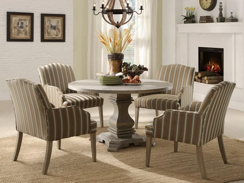 White Wooden Round Dining Table Design With Fireplace And Wall Clock ~  Http://