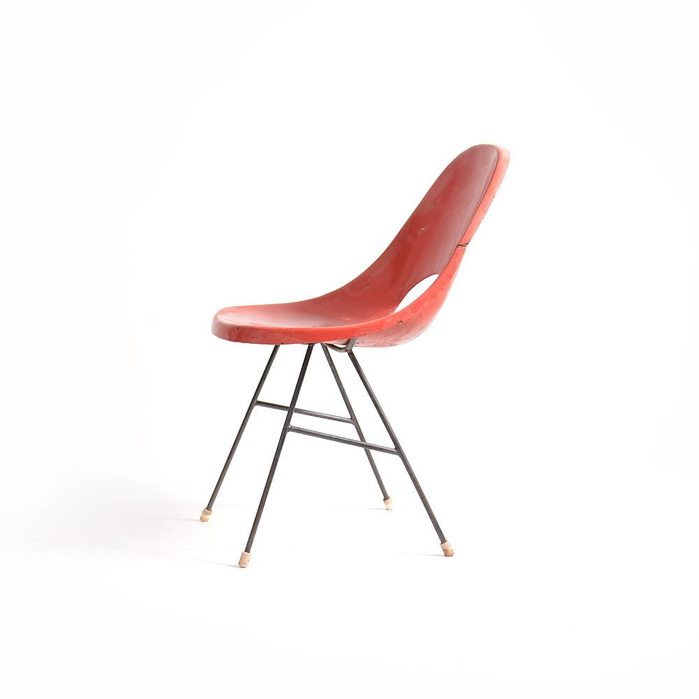Molded plastic and metal chairs - Miroslav Navr Til Molded Plastic And Enameled Metal Chair For Vertex 1960s