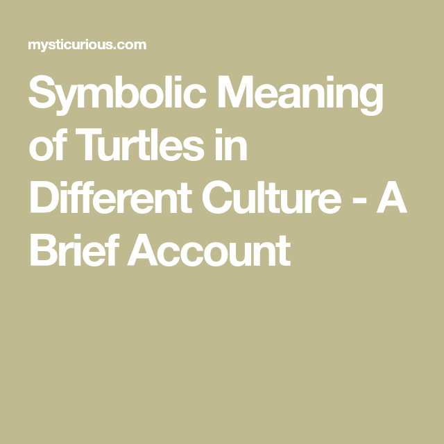 Symbolic Meaning Of Turtles In Different Culture A Brief Account
