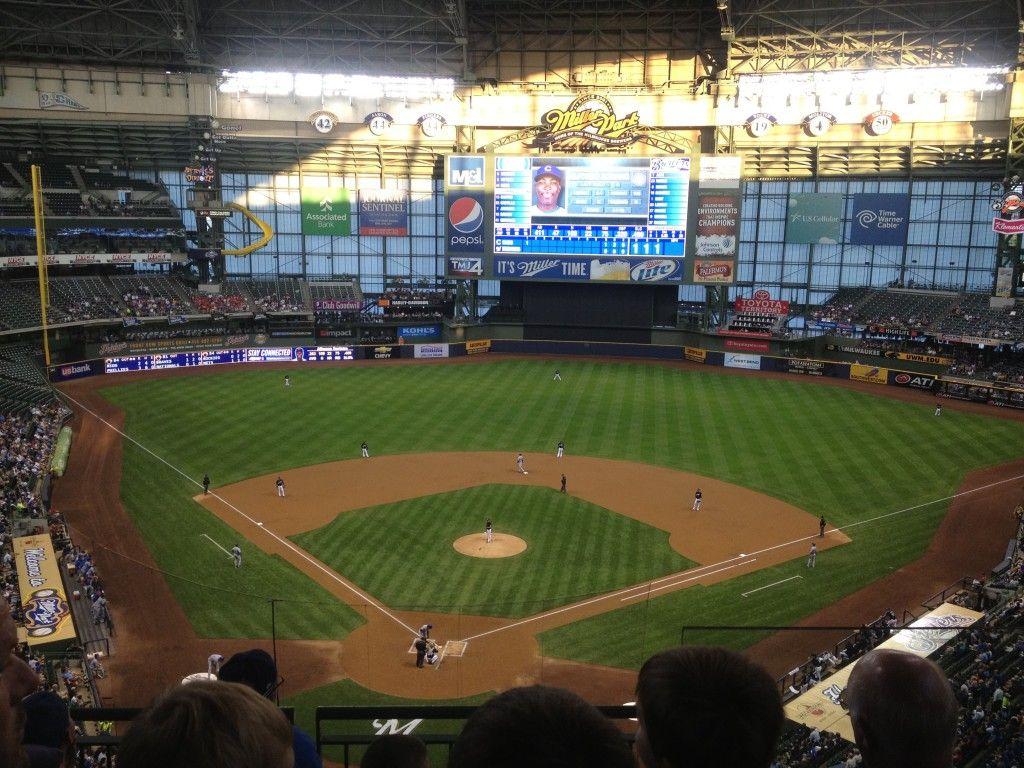Miller Park in Milwaukee Indoor baseball on a beautiful