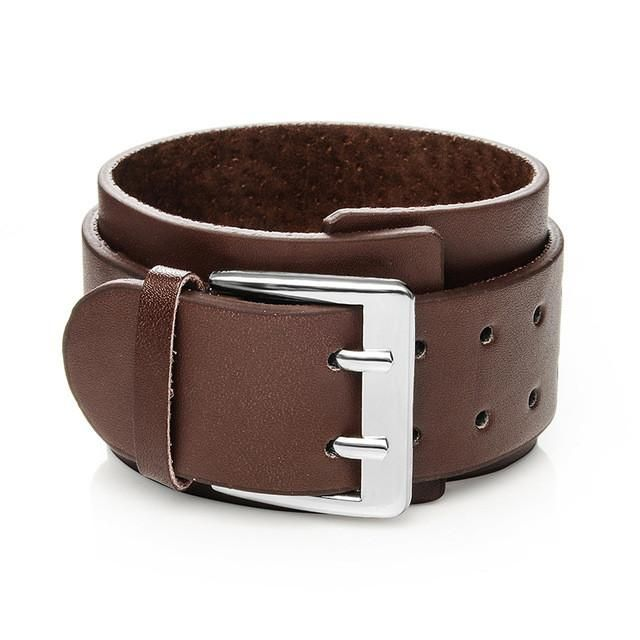 Punk Wide Cuff Genuine Leather Bracelet