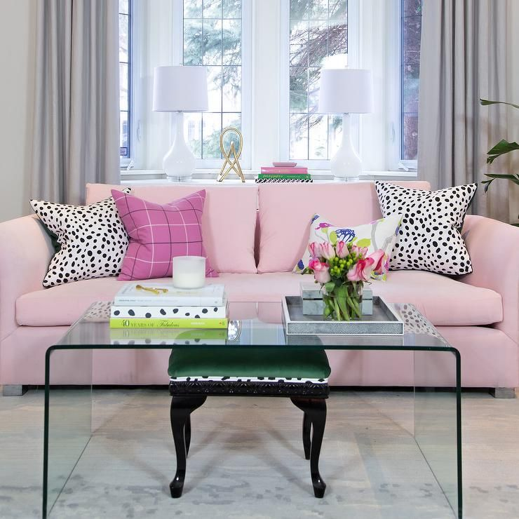 Glamorous pink and white contemporary living room features a white - wohnzimmer schwarz pink