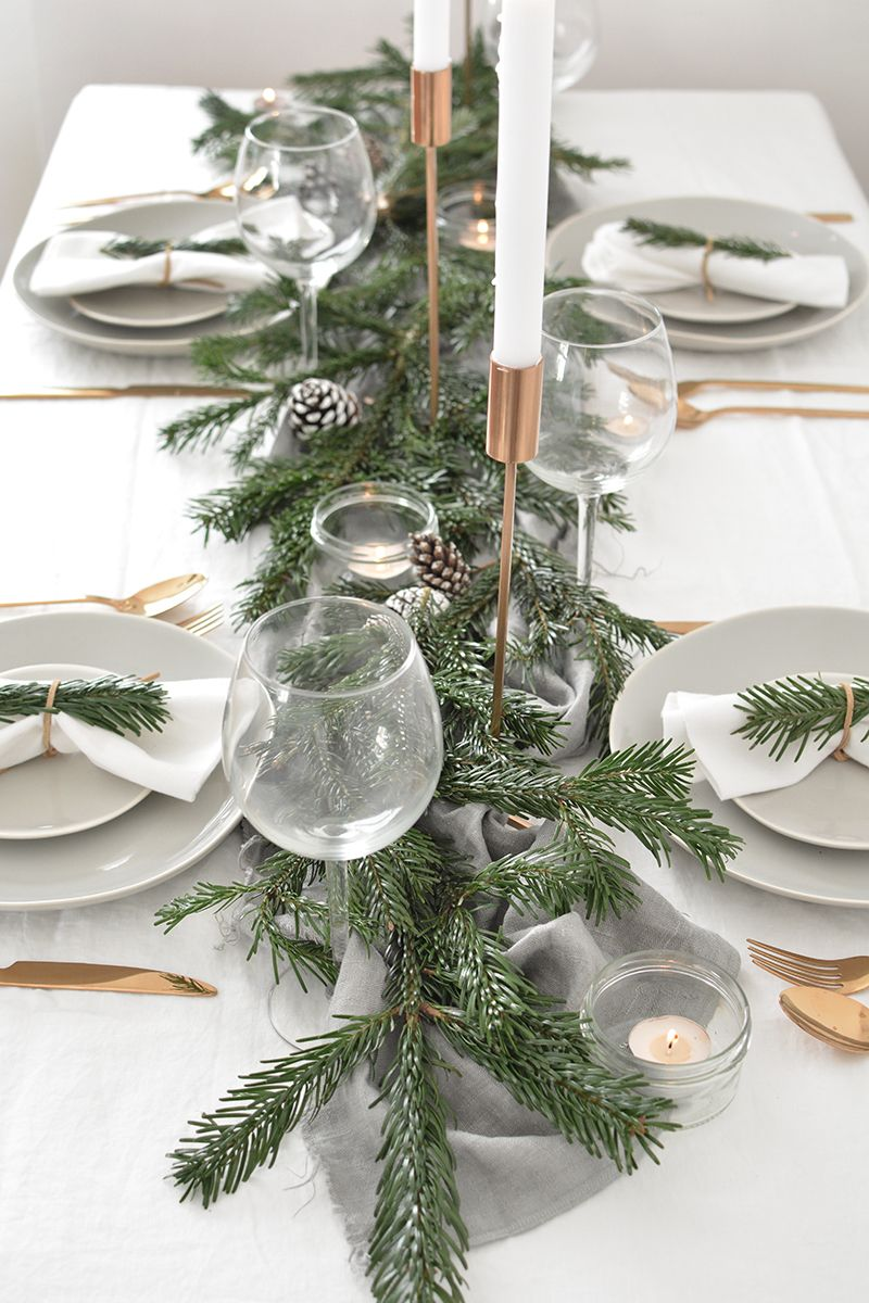 How To Create A Modern Christmas Tablescape Winter Table Decorations Christmas Table Settings Modern Christmas