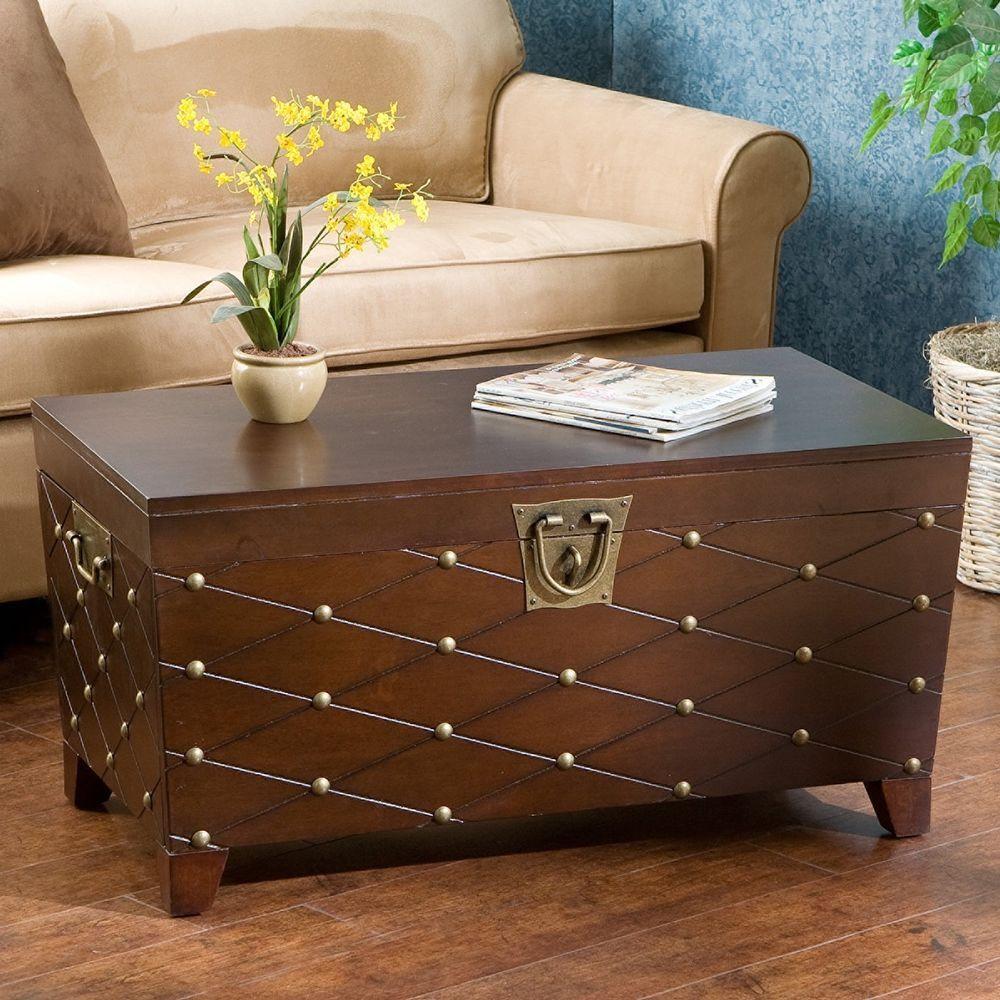 Trunk coffee table wood metal storage furniture rectangle handles coffee table storage trunk furniture nailhead wood rustic cocktail nailhead new geotapseo Gallery