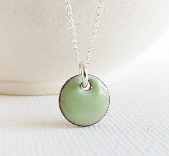 Enamel Pendant Necklace  Lichen Spring Green by BearMetalJewelry, $30.00