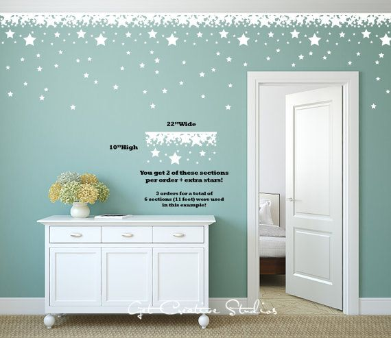 Perfect Star Border Decal White Stars Wall Decal Disney Decal Magical Decal Theme  Fairy Decor Wall Border