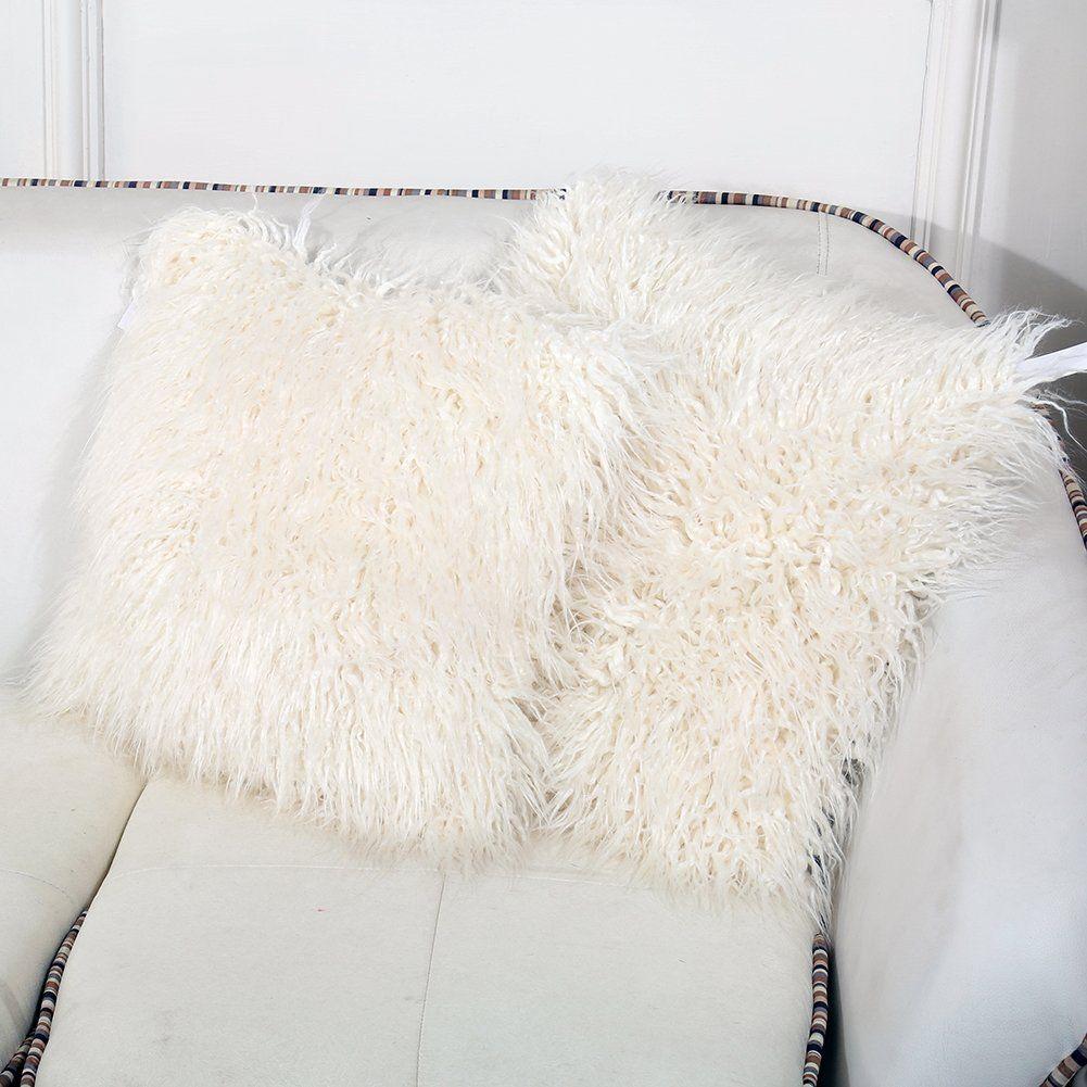 Amazon.com: FURTALK 18-Inch Mongolian Faux Fur Pillow, Natural ...