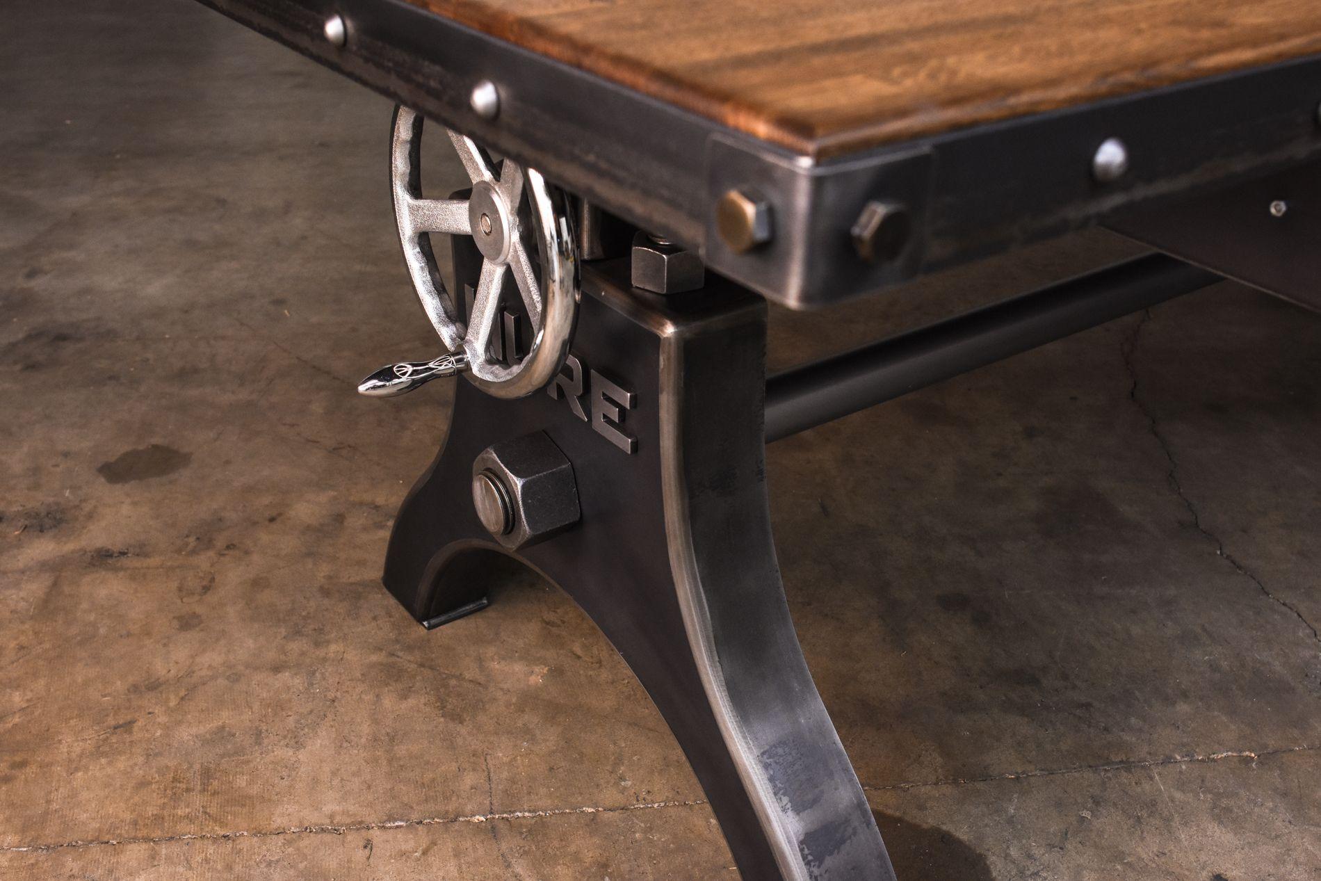 Hure crank table vintage industrial furniture - Hure Faux Crank Boxcar Top Desk By Vintage Industrial Furniture