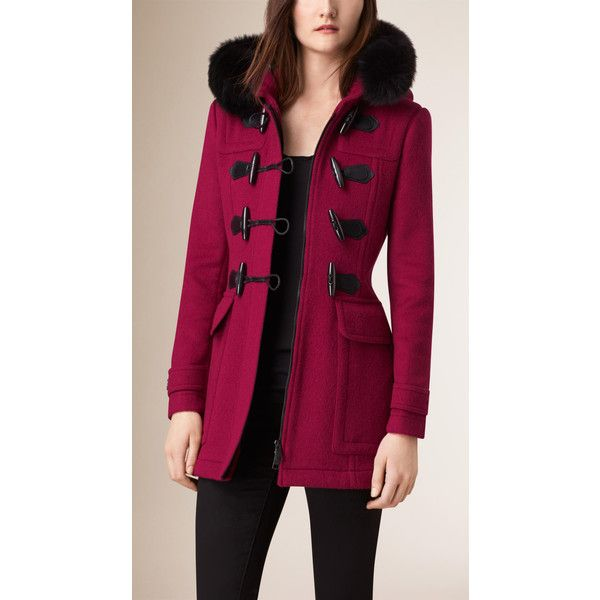 Burberry Detachable Fur Trim Wool Duffle Coat ($1,465) ❤ liked on Polyvore featuring outerwear, coats, hooded toggle coat, wool coat, hooded wool coat, slim fit coat and burberry coat