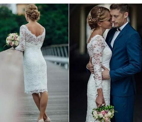 Elegant Short Summer Lace Wedding Dresses Knee Length Simple White Ivory Short Sheath Wedding Dresses Bridal Gowns With Long Sleeves Short Lace Wedding Dress Knee Length Wedding Dress Wedding Dress Long