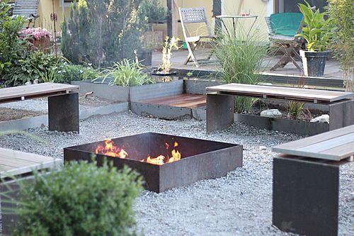 Garten feuerstelle industrie stil birte meyer for Jardineria al aire libre casa pendiente