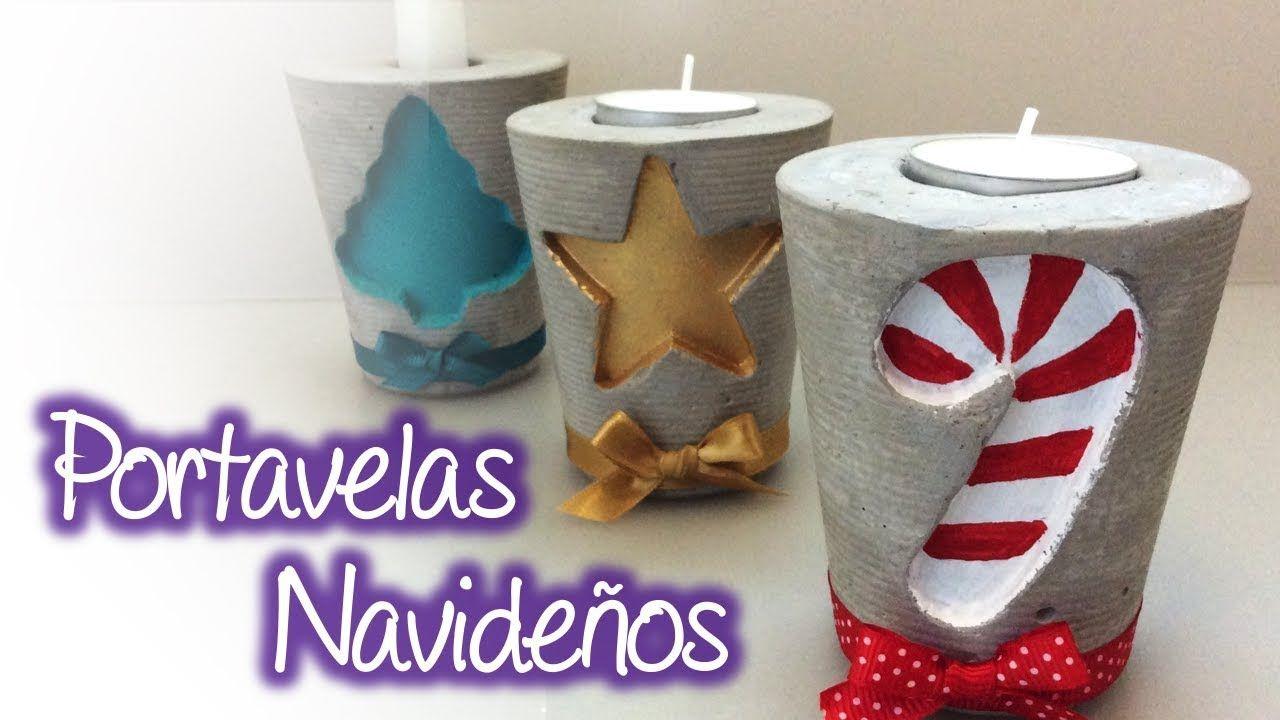 Portavelas Navideños Christmas Candleholder Christmascrafts Navid Decoracion De Velas Navideñas Manualidades En Cemento Cemento Decorativo