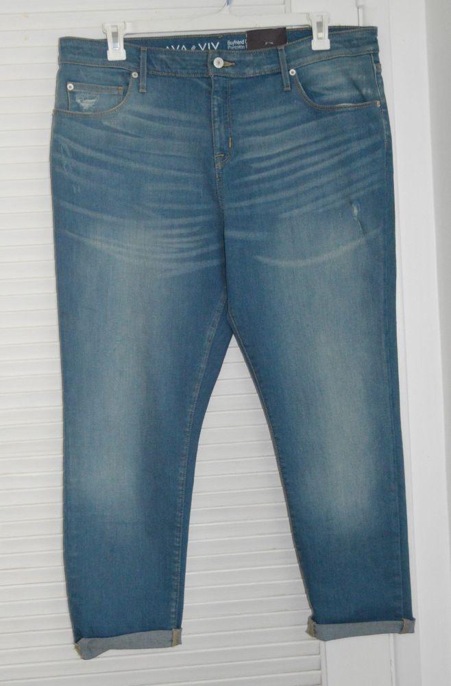 8d5e251ae9a32b NWT! Womens Plus Size AVA & VIV Boyfriend Crop Power Stretch Jeans - Size  16W #AvaViv #CapriCropped