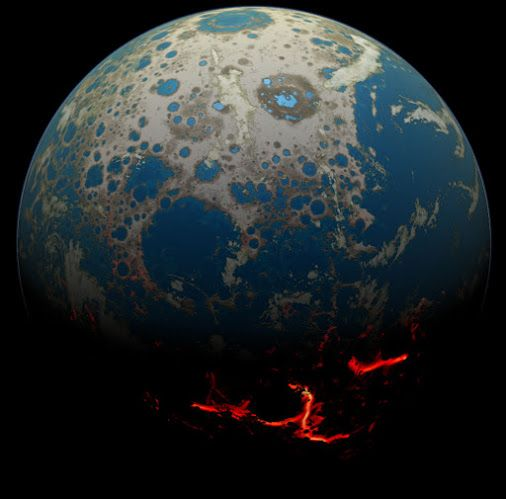 Four Billion BCE: Battered Earth SSERVI, NASA | No place on Earth was safe. Four billion years ago, during the Hadeaneon, our Solar System was a dangerous shooting gallery of large and dangerous rocks and ice chunks. This illustration depicts how Earth might have looked during this epoch, with circular impact features dotting the daylight side, and hot lava flows visible in the night. One billion years later, in a calmer Solar System, Earth's first supercontinent formed!
