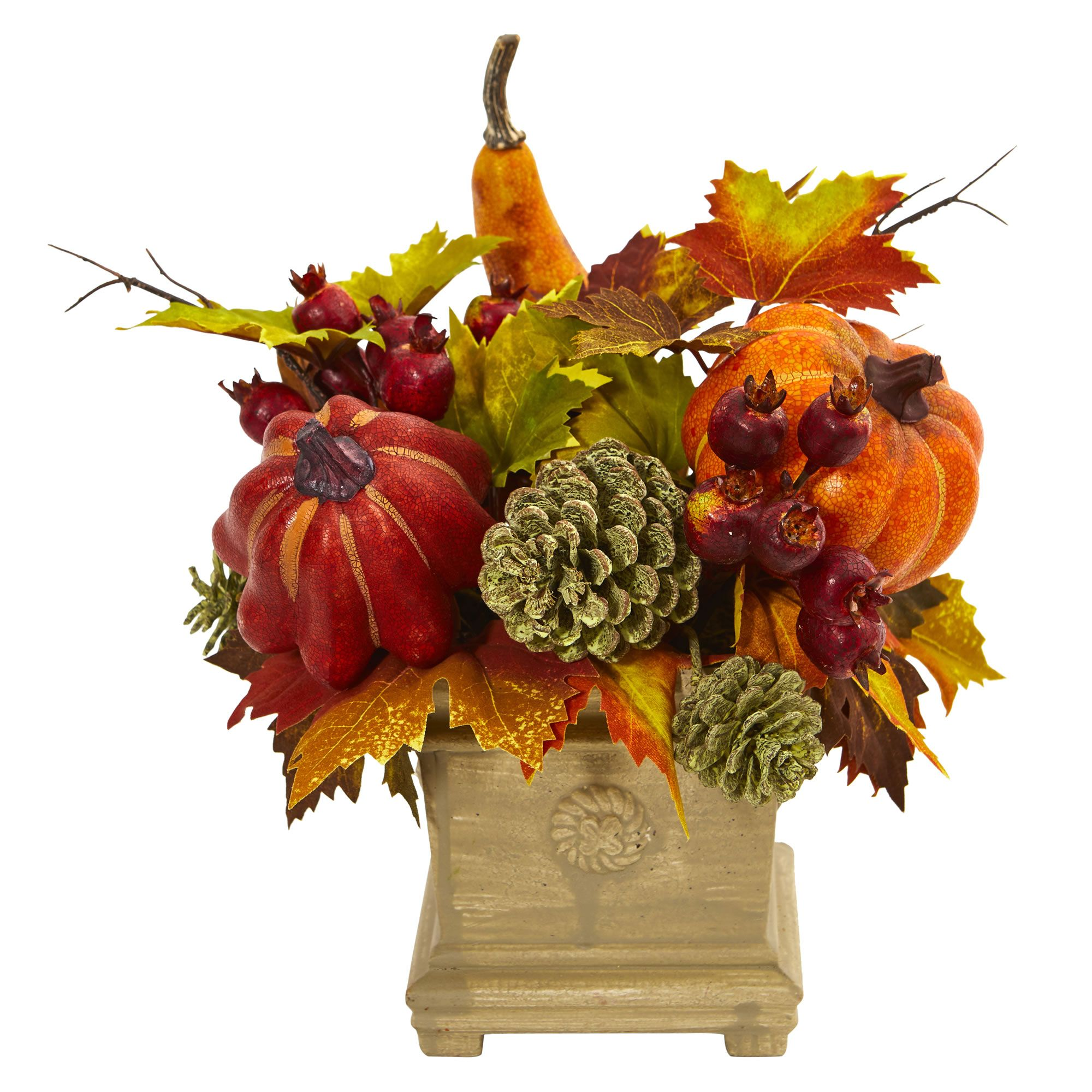 "11""H Faux Pumpkin, Gourd, Berry and Maple Leaf Arrangement"
