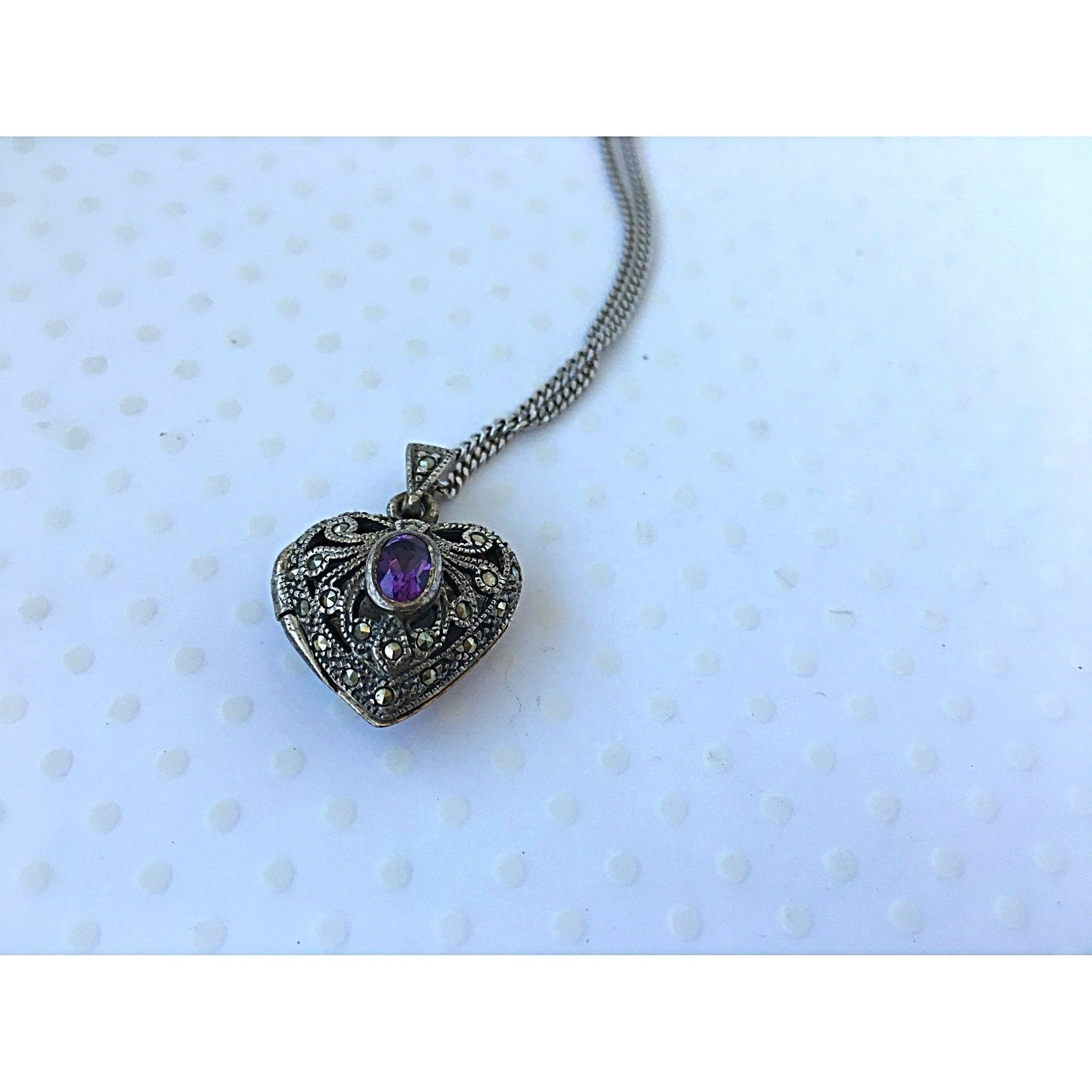 amazon silver amethyst uk lockets plated polished jewellery co rhodium sterling back dp antiqued locket