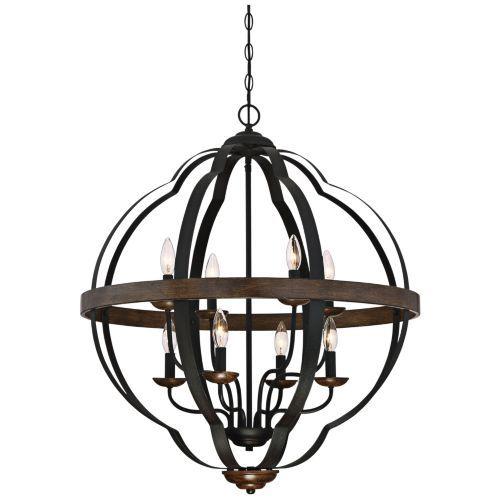 Quoizel siren 28w 8 light black metal cage foyer chandelier lamps plus