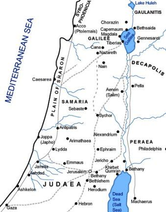 Map of Samaria, Galilee and Judaea | Bible mapping, Bible history, Bible  facts