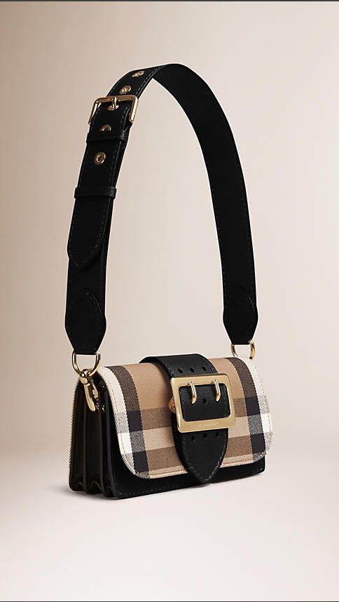 804d7e8ef9a4 Black The Buckle Bag in House Check and Leather Black - Image 3