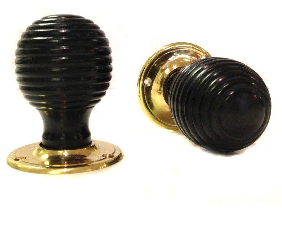 Traditional - carlton black wood beehive door knob (classic rose ...