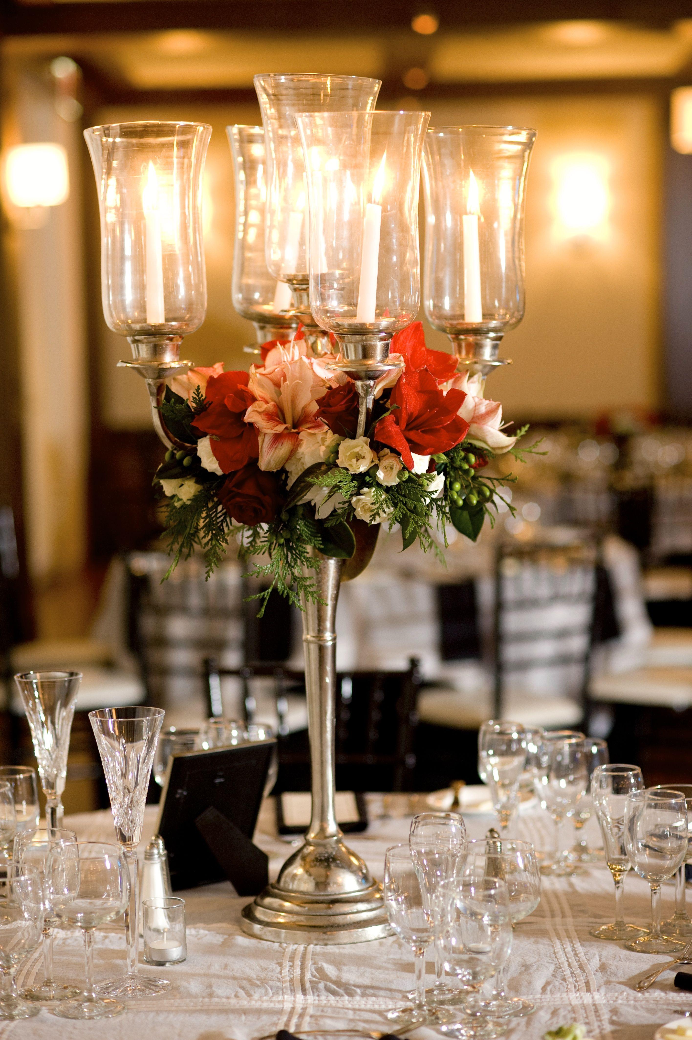 Holiday Wedding Candelabra Centerpiece Ellen Snyder Floral Design