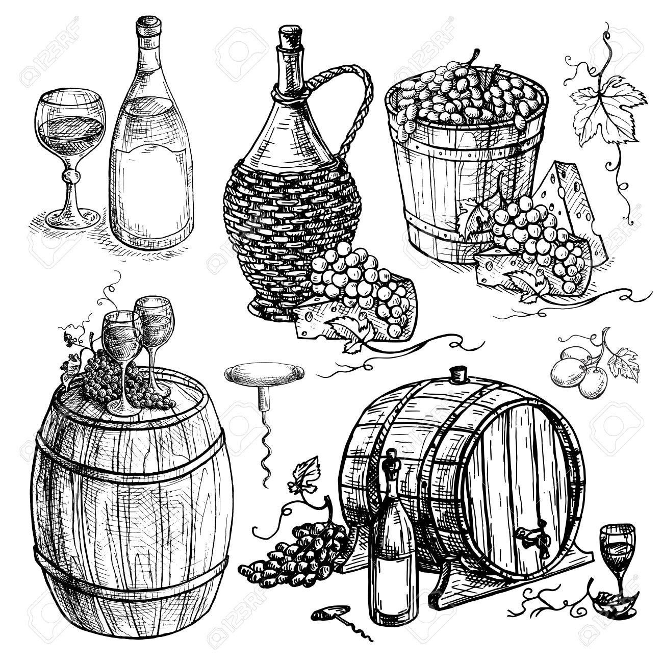 Set Of Wine Bottle And Barrel And Grapes In Graphic Style Hand Drawn Grape Drawing Color Drawing Art Wine Art