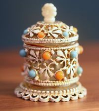 "Vintage FLORENZA signed Ornate Turquoise Coral Beads ""Perfume Bottle"" Miniature"
