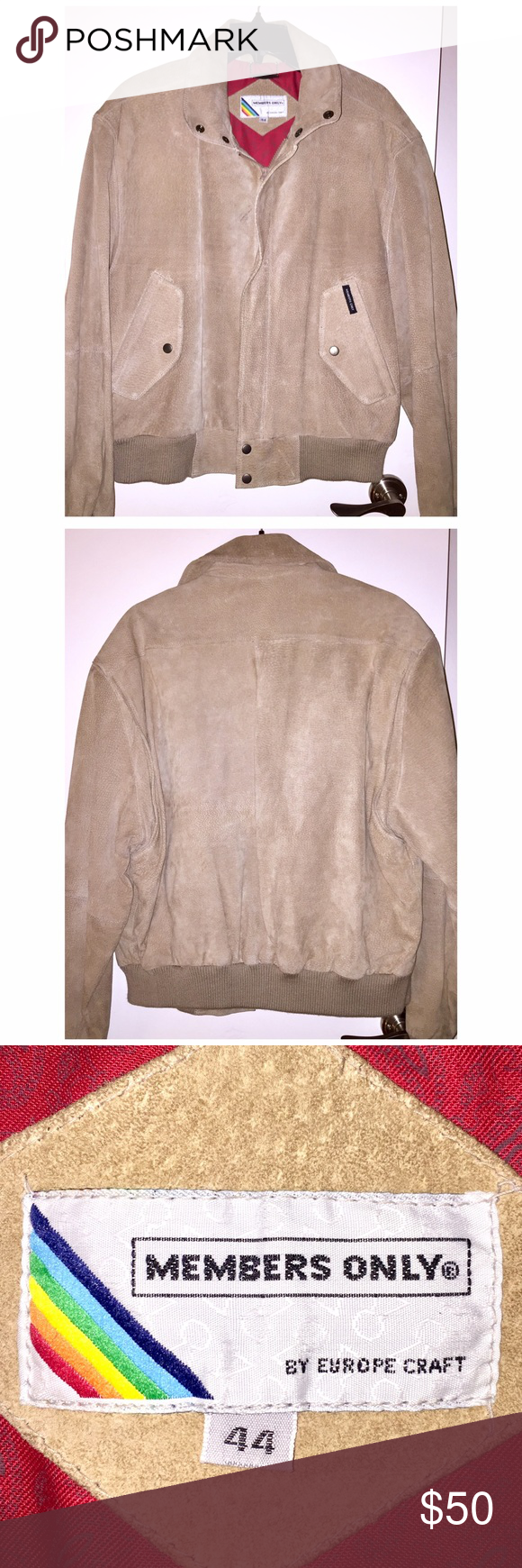 Members Only Leather Jacket ⬇️PRICE DROP⬇️VINTAGE Members Only Rainbow Label Leather Jacket in size 44 comes in VERY GOOD condition! Gorgeous 100% genuine leather in light tan color. Rainbow tag. Very rare! There is one mark near the zipper (see photo) but in otherwise EXCELLENT condition. Amazing rare find!!!❤️ Members Only Jackets & Coats
