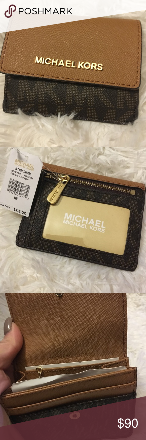 73b1a1022c1ec3 New Michael Kors jet set wallet coin purse New Michael Kors jet set wallet  coin purse card case ID holder Retail $118 Gold hardware with acorn color Mk  ...