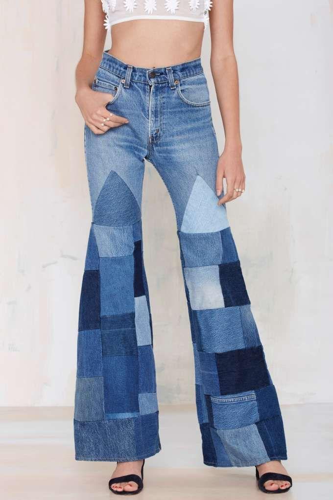 08d1d373 Vintage Patchwork Trousers | denim modifications | Jeans refashion ...