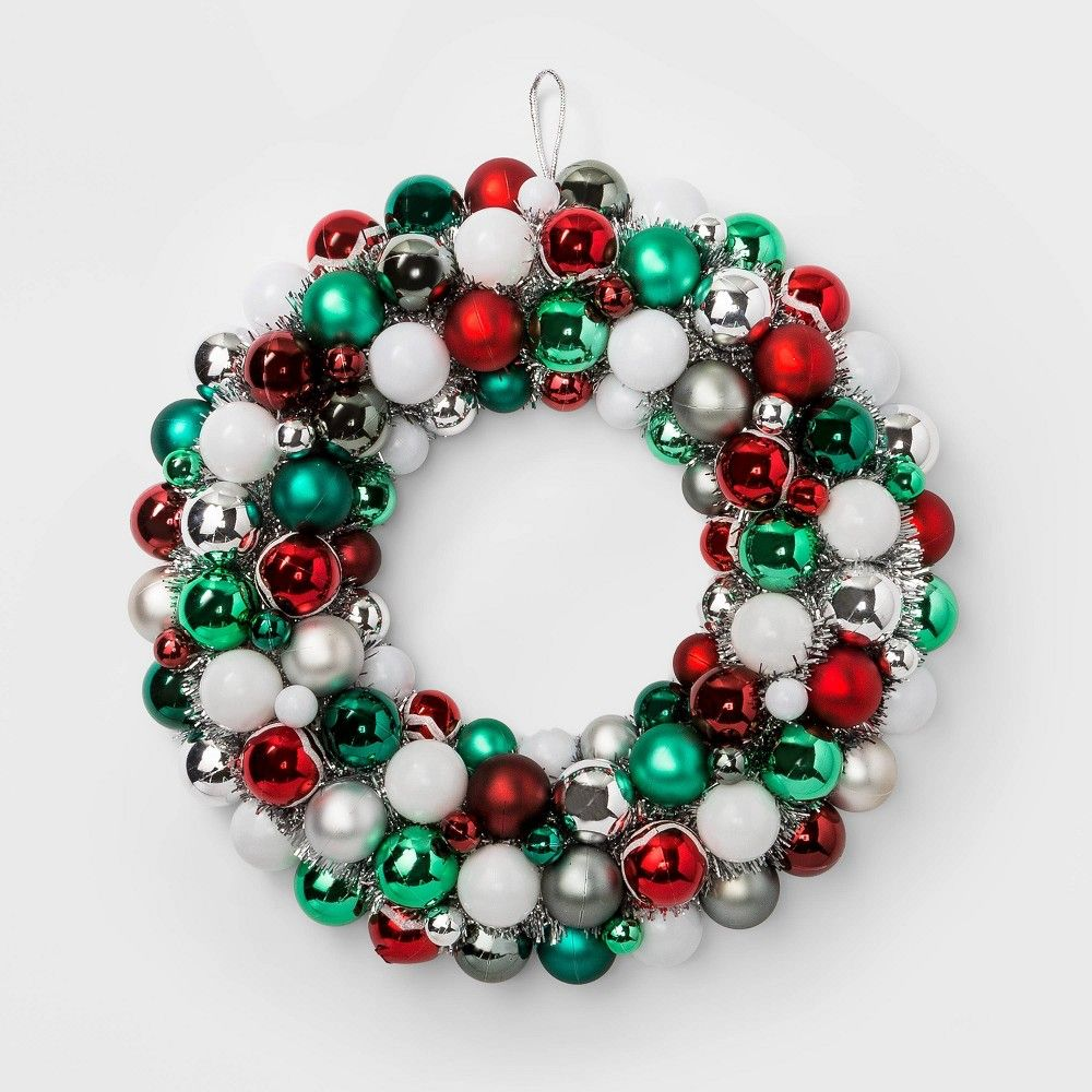 Shatterproof Christmas Wreath Red Green and White