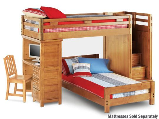 twin step loft with desk bunk bed