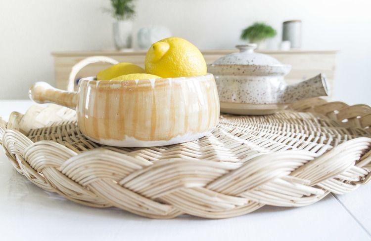 Retro ceramics on a rattan serving tray