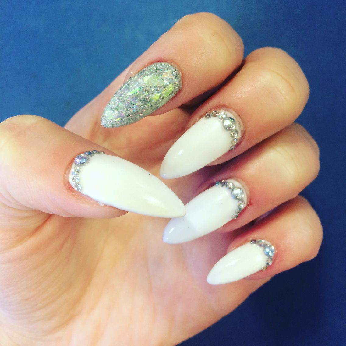 Holographic silver and white acrylic nails with diamond detail ...