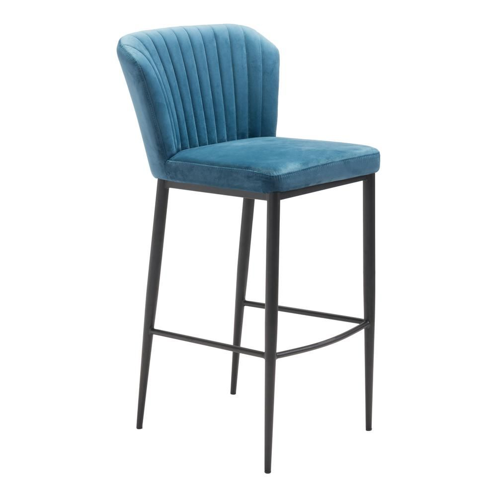 Zuo Tolivere 41 3 In Blue Velvet Bar Chair Set Of 2 101176 Bar Chairs Green Chair Bar Stools