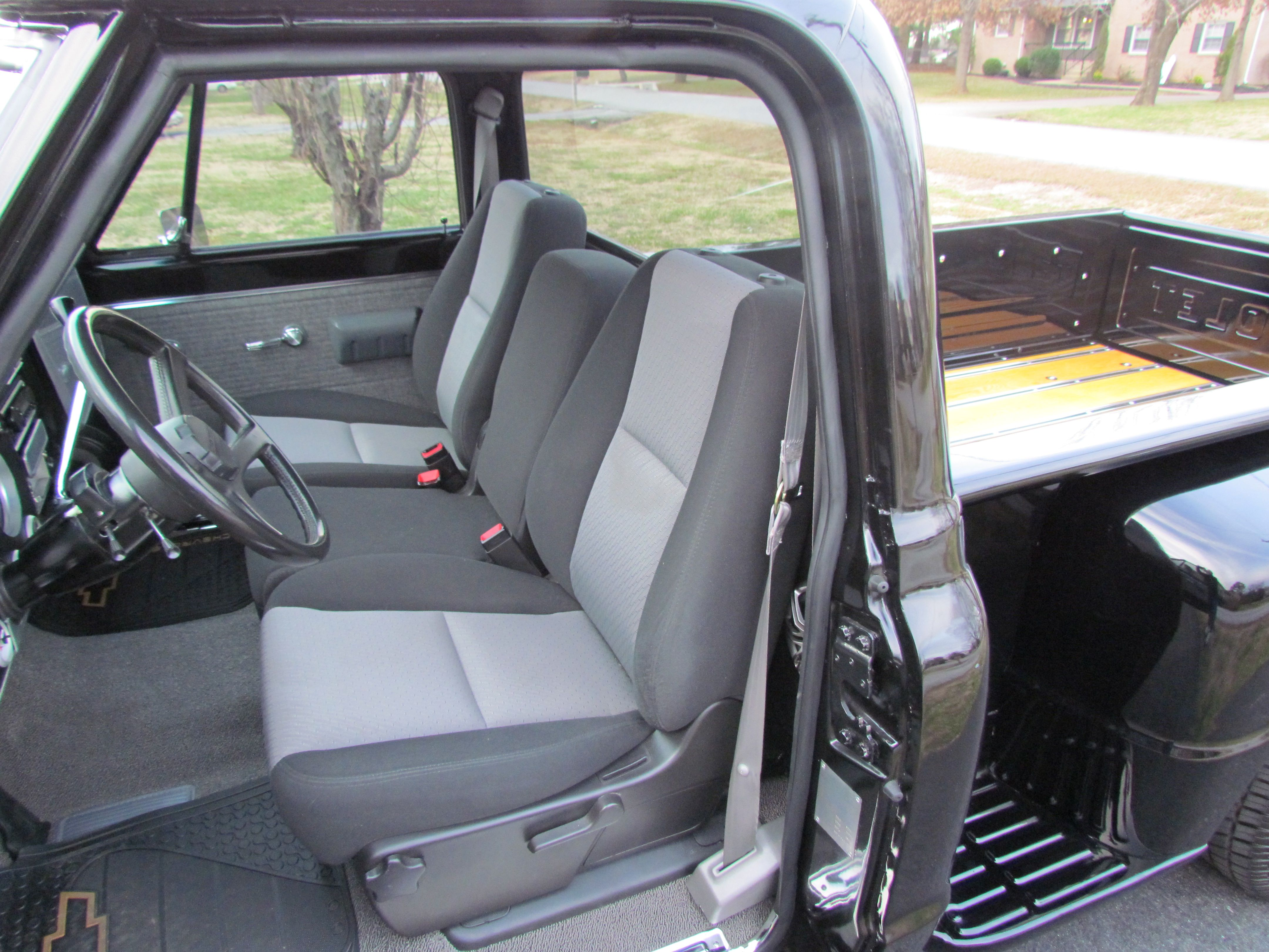 upholstery rick interior trucks seat covers truck custom departments chevy door completed panels red s