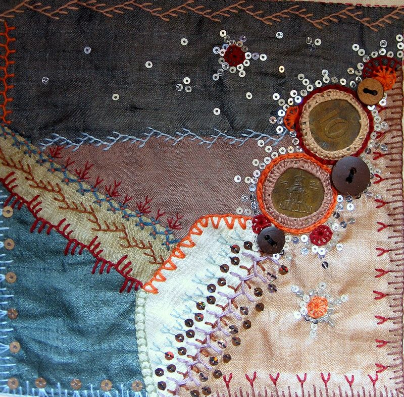 I ❤ crazy quilting, beading & embroidery . . . CQJP & Journal page, January 2015. My first CQ block completed for the CQJP challenge, just in time as January draws to a close. Embellished with stitches from TAST. ~By Maya Matthew, Million Little Stitches